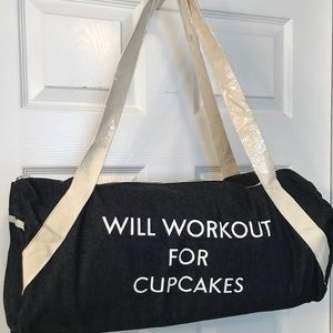 Handbags - Will Workout for Cupcakes Denim Gym Bag